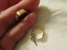 "Orange Gold Tone Hexagon Shape Engraved Earrings - 0.5"" long"