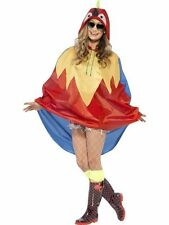 Ladies Teens Parrot Poncho Waterproof Festival Concert Hen Party Costume Fun
