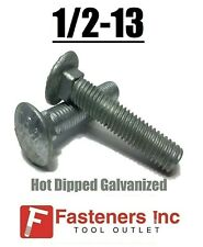 1/2-13 Hot Dipped Galvanized Carriage Bolts Coach Bolts - Select Length & Qty