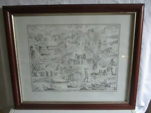 """Vintage limited edition signed print Tayside by H.O.Ray Will 22.5"""" x 18.5"""" #PB3"""