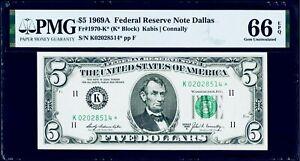 $5 1969A Federal Reserve *Star Note Dallas Fr#1970* PMG 66 EPQ Gem Uncirculated