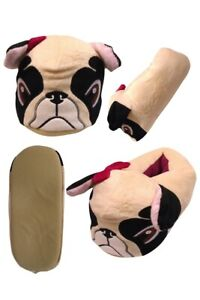 FAB LADIES 3D GRUMPY PUG DOG SLIPPERS BEIGE RED BOW ON EAR DETAIL SIZES 3-8