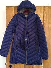 Womens Michael Kors Long Packable Paca Mac Coat Jcket Sapphire Blue Small S NEW