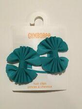 Gymboree FRIENDSHIP CAMP Teal Ribbon Hair Clips ~ NWT!