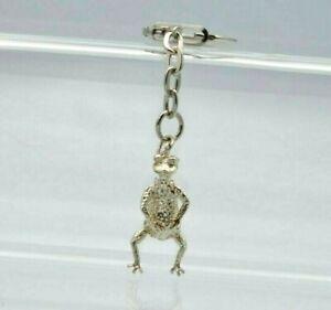 Vintage Sterling Silver Articulated Frog Charm Keyring