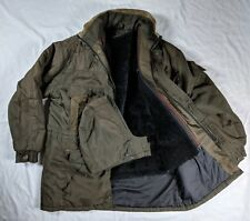 Vtg Palmer Faux Fur Lined Hooded Green Jacket Army XL Leather Trim