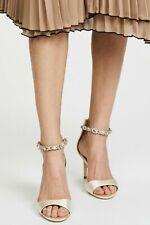 Badgley Mischka Sindy Women's Wedding Ankle Strap Sandal Ivory Satin US 8.5 M
