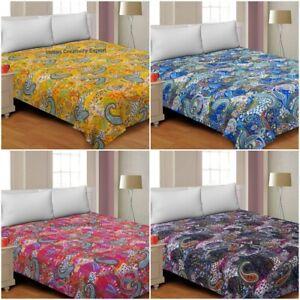 Indian Handamde Kantha Quilt New Paisaly Printed Kantha Bedspread Boho Hippie