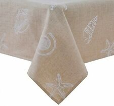 "Stamped Shells Tablecloth Fine Dining Machine Wash Beach Nautical Theme 52"" X 70"