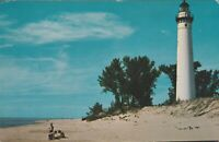 MICHIGAN LITTLE POINT SABLE LIGHTHOUSE Vintage POSTCARD