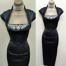 Size 12 UK KAREN MILLEN Corset Classic Galaxy Black Jewel Cocktail Wiggle Dress