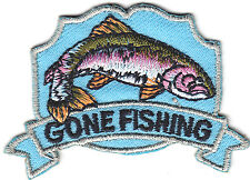"FISHING  - ""GONE FISHING"" - SPORTS-  RAINBOW TROUT - Iron On Embroidered Patch"