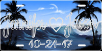 Palm Trees Love - Personalized FREE Custom License Plate Frame - Auto Tag