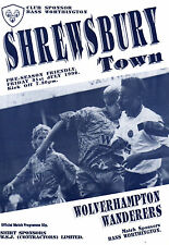 1992/93 Shrewsbury Town v Wolverhampton Wanderers, friendly, PERFECT CONDITION