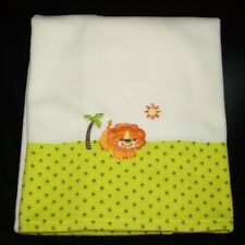 Fisher Price Cream White Lion Palm Tree Green Dot Baby Blanket Precious Planet