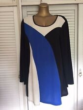 Retro Style Tunic Top in Black, White, Blue with Long Sleeves Sz 5XL