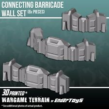 Connecting Barricade Wall Set, Terrain Scenery 28mm Mini Wargames, 3D Printed