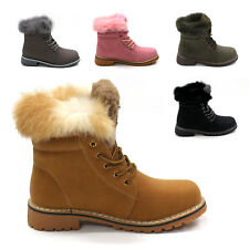 LADIES ANKLE BOOTS WOMENS FUR LINED FLAT GRIP SOLE  COMBAT WINTER SNOW SHOES