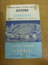 07/12/1955 At Wembley: Oxford University v Cambridge University  (folded, pin ho