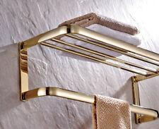Gold Color Brass Bathroom Towel Rail Holder Rack Bar Shelf Wall Mounted mba841