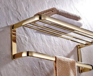 Gold Color Brass Bathroom Towel Rail Holder Rack Bar Shelf Wall Mounted mba841