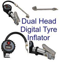 LCD Digital Tyre Inflator Display Dual Head Air Line Compressor Pressure Gauge