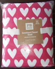 Pottery Barn Sweetheart Flannel Full Queen Duvet Cover NWT Pink Magenta Hearts