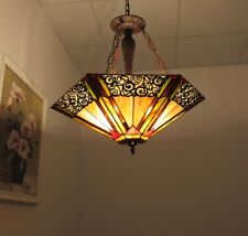 """Tiffany Style Stained Glass 3 Bulb Ceiling Pendant 24"""" Shade with Vine Pattern"""