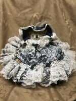 One of a Kind Teddy Bear with Oversized Ruffled Dressed, Hat, Lace, Flowers