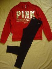 Nwt Victoria's Secret Pink 1/2 Zip Red Sweatshirt Leggings Pants Set L Bling Dog