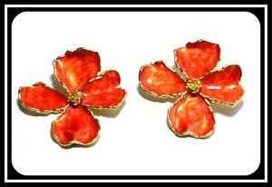 Bronze 14k Yellow Gold Overlay Red Enamel Dogwood Flower Earrings