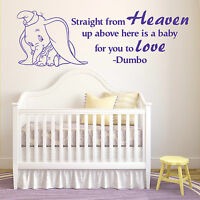 DUMBO THE ELEPHANT Straight From Heaven WALT DISNEY vinyl wall art sticker quote