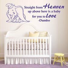 DUMBO THE ELEPHANT Straight From Heaven WALT DISNEY vinyl wall art sticker quote