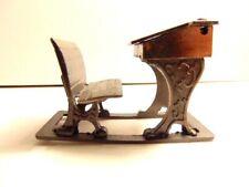 older cast metal dollhouse miniature school desk-  made in Hong Kong