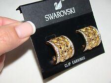 Swarovski Gold Basketwave Design Half Hoop Wide Clip-on Earrings New w/Card