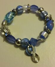 "Ladies Beaded 7""-8"" Stretchy Bracelet Aqua Skye-blue Silver Charms"
