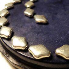 """6 Perles Métal Uni     Losanges     """"Argenté Mat""""  9X12 mm"""