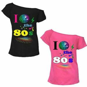 Ladies I Love The 80's 90's Globe T-Shirt Fancy Dress Costume Festival Women Top