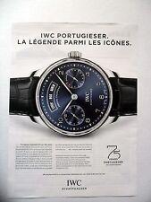 PUBLICITE-ADVERTISING :  IWC Portugieser 5035 - 75 ans  2015 Montres