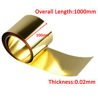 Brass Metal Thin Sheet Foil Plate Roll 0.02 x 100 x 1000mm Metalworking tool new
