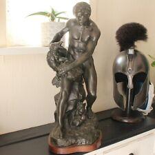 More details for large patinated bronze spelter figurine man fighting eagle after a j guillot