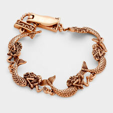 Mermaid Bracelet Chain Link Magnetic Clasp Sea Life Fish Textured Rose Beach