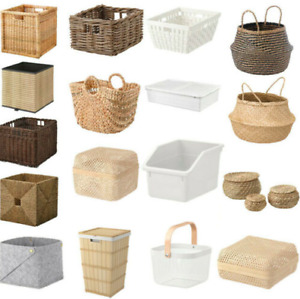 IKEA Rattan Storage Baskets Kitchen Hamper Bathroom Bedroom Handy Tidy Organiser