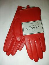 NEXT Red Real Leather Gloves Size M