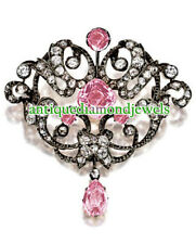 2.75ct Rose Cut Diamond Tourmaline 925 Silver Antique Victorian Look Brooch