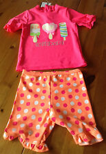 girls 2 piece surfsuit sunsuit uv 40+ pink orange ice lollies 9-12 month new tag