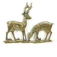 Vintage Brass Couple Deers Wall Art Decor Figurine Gold Hanging Home Decor