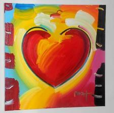 "Peter Max-""Heart""- Original Acrylic Painting On Canvas-36 X 36- Art Unframed"