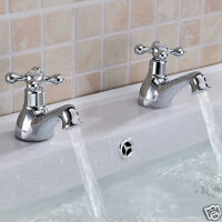 BATHROOM BASIN SINK HOT & COLD PAIR TAPS SET CHROME SOLID BRASS & OPTIONAL WASTE