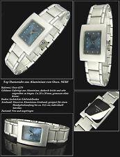 Completamente de aluminio osco señora de diseño reloj azul claro muy fácil nuevo
